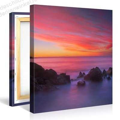 Schilderij Paarse Zee (80x80cm)