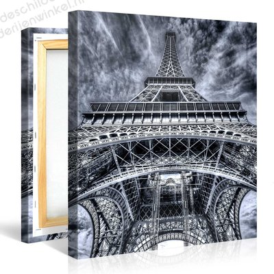 Schilderij Eiffeltoren Parijs Grijs (80x80cm)