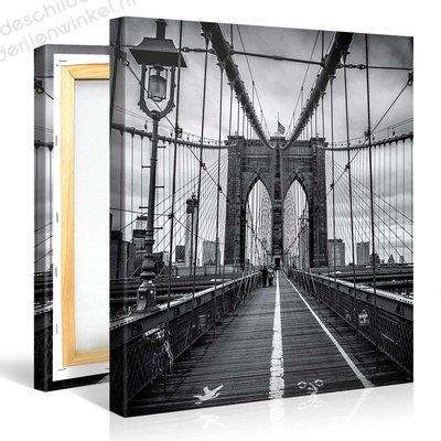 Schilderij Brooklyn Bridge Zwart Wit (80x80cm)