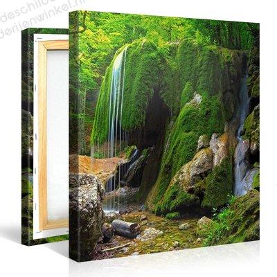 Schilderij Groene Rock Waterval (80x80cm)