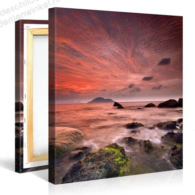Schilderij Caribische Gloeiende Hemel (80x80cm)
