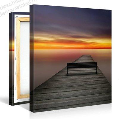 Schilderij Prachtige Zonsondergang Pier (80x80cm)