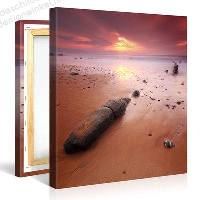 Schilderij Brandende Lucht Strand (80x80cm)