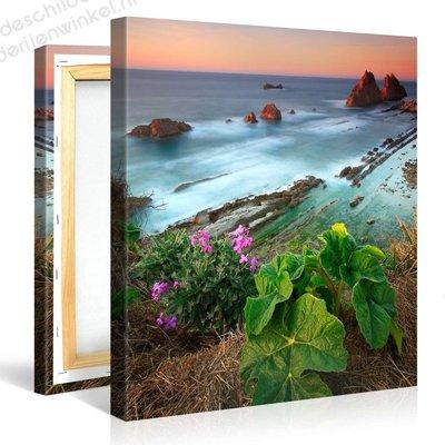 Schilderij Wilde Bloemen Aan Zee (80x80cm)