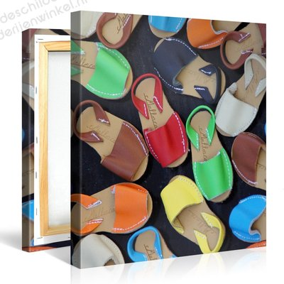 Schilderij Kleurrijke Sandalen (80x80cm)