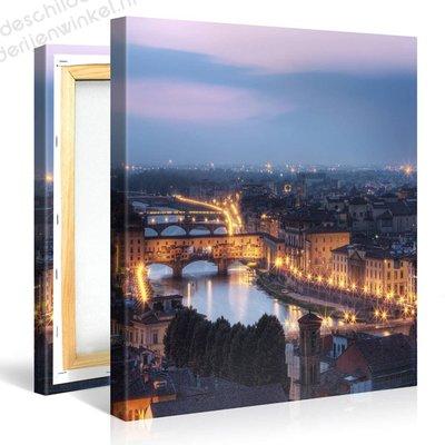 Schilderij Florence 's Nachts (80x80cm)