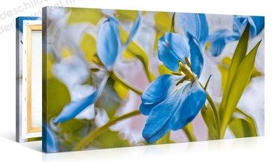 Schilderij Bloem Blauw (100x50cm)