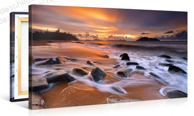 Schilderij Caribbean Strand Zonsondergang (100x50cm)