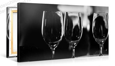 Schilderij Wijnglazen Zwart Wit (100x50cm)