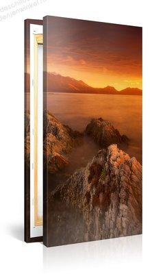 Schilderij Heldere Zee Zonsondergang (50x100cm)