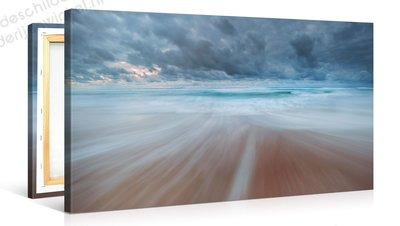 Schilderij Stormachtig Strand (100x50cm)