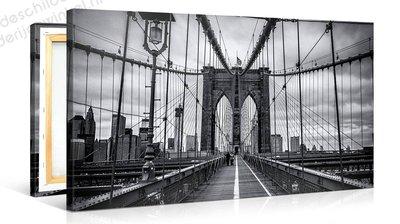 Schilderij Brooklyn Bridge Zwart Wit (100x50cm)