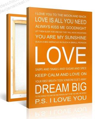 Schilderij Love Quotes (75x100cm)