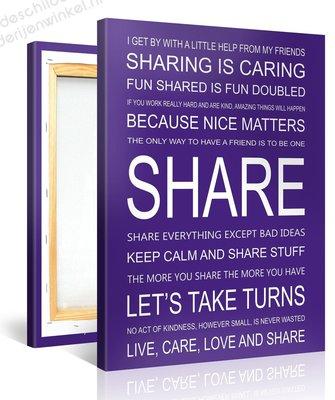 Schilderij Share Quotes (75x100cm)