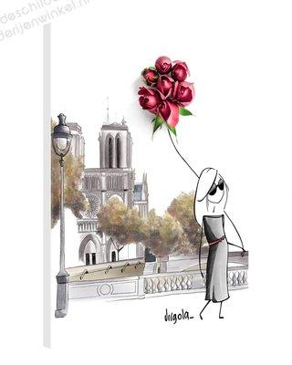 Schilderij Meisje bij Notre-Dame (60x80cm)