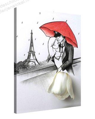 Schilderij Geliefden Parijs met Tulp (60x80cm)