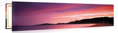 Schilderij Strand Zonsondergang Paars (120x30cm)