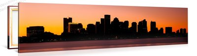 Schilderij Boston Silhouet Zonsondergang (120x30cm)