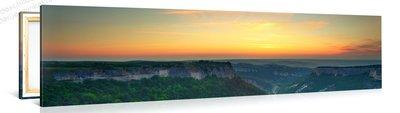 Schilderij Prachtige Zonsondergang Over De Berg (120x30cm)