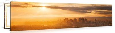 Schilderij Zonsondergang vanuit Eiffeltoren (120x30cm)