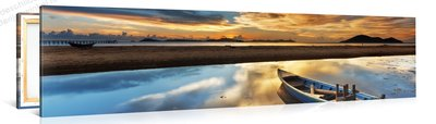 Schilderij Boot Op Het Strand, Zonsondergang (120x30cm)
