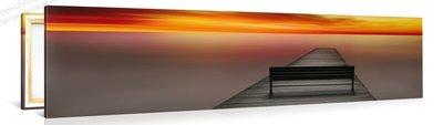 Schilderij Prachtige Zonsondergang Pier (120x30cm)