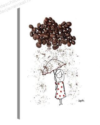 Schilderij Meisje In Koffiebonen Regen (30x40cm)