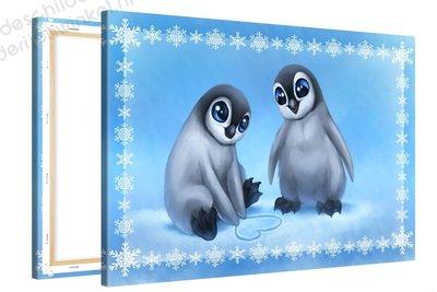 Schilderij Schattige Penguins (30x20cm)