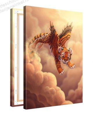 Schilderij Tijger Met Vleugeltjes (20x30cm)
