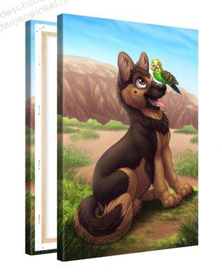 Schilderij Huisdieren Vriendjes (20x30cm)