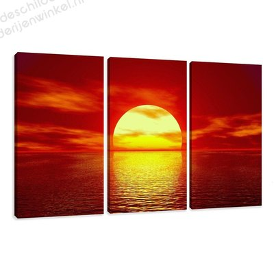 Schilderij Ondergaande zon in zee XXL 3-delig (160x90cm)