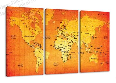 Schilderij Wereldkaart Tangerine XXL 3-delig (160x90cm)