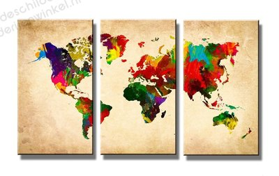 Schilderij Wereldkaart Florid XXL 3-delig (160x90cm)