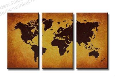 Schilderij Wereldkaart Shoko XXL 3-delig (160x90cm)