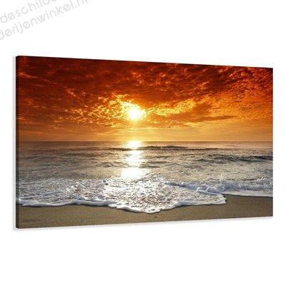 Schilderij Ondergaande zon (80x60cm)