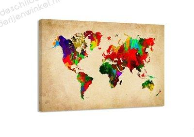 Schilderij Wereldkaart Florid M (80x60cm)