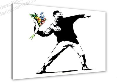 Schilderij Flower Thrower [BANKSY Graffiti Art] (80x60cm)