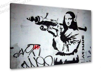 Schilderij Banksy Mona Lisa Bazooka [BANKSY Graffiti Art] 3-delig (80x60cm)