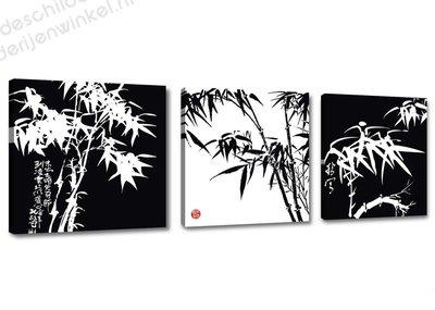 Schilderij Black and white bamboe 3-delig (150x50cm)