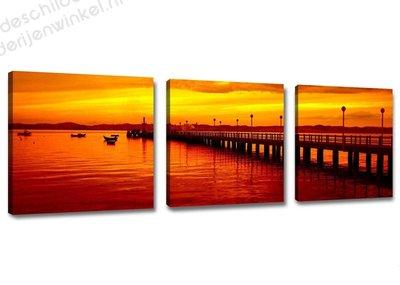 Schilderij Bridge by dawn 3-delig (150x50cm)