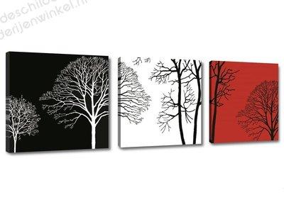 Schilderij Trees black/white/red 3-delig (150x50cm)