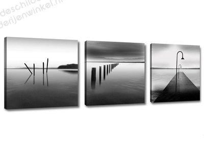 Schilderij Grey sea 3-delig (150x50cm)