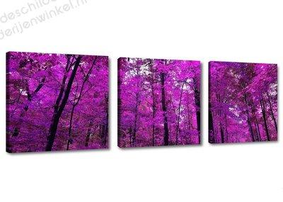 Schilderij Purple trees 3-delig (150x50cm)