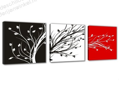 Schilderij Branch black/white/red 3-delig (150x50cm)