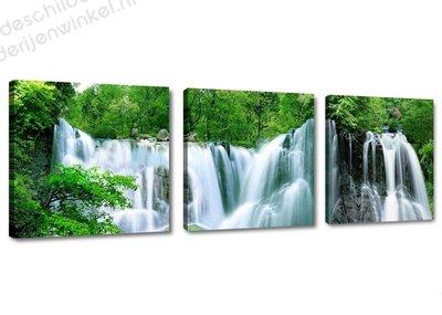 Schilderij Waterval 3-delig (150x50cm)