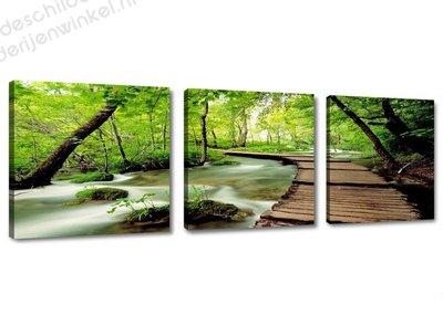 Schilderij River 3-delig (150x50cm)
