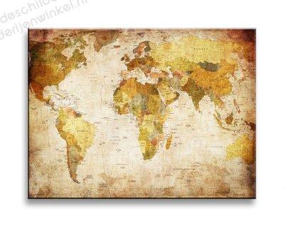 Schilderij Wereldkaart Vintage MINI (40x30cm)