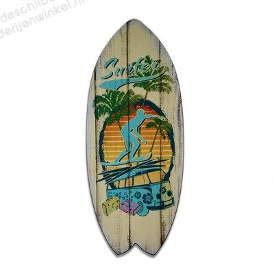 Schilderij Deco-Surfboard Surfer (60x25cm)