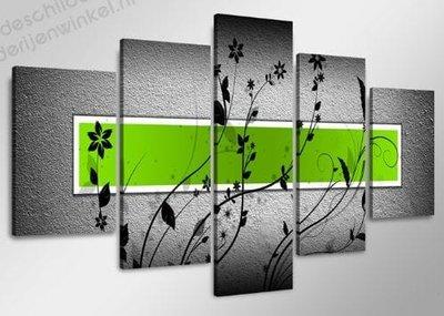 Schilderij Groen XXL 5-delig (160x80cm)