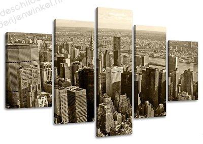Schilderij New York Wolkenkrabbers XXL 5-delig (160x80cm)